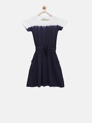Palm Tree Girls Blue & White Ombre-Dyed Fit & Flare Dress
