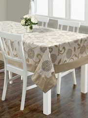 "S9home by Seasons Beige Printed Rectangular 60"" x 90"" Polyester Table Cover"
