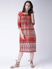 Moda Rapido Women Red & Beige Printed Midi Dress