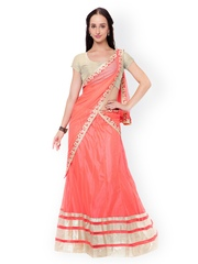 Triveni Pink Raw Silk & Net Semi-Stitched Lehenga Choli with Dupatta