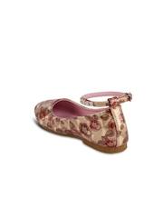 CUTECUMBER Girls Brown Printed Flat Shoes with Ankle Loop