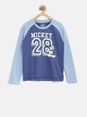 Disney by Kids Ville Boys Blue Printed Round Neck T-shirt