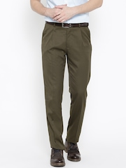 John Players Men Olive Solid Flat-Front Trousers