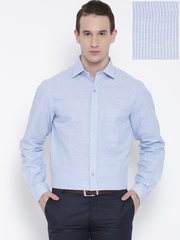John Players Men Blue Slim Fit Striped Semiformal Shirt