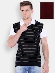 Duke Maroon & Navy Striped Sleeveless Reversible Sweater