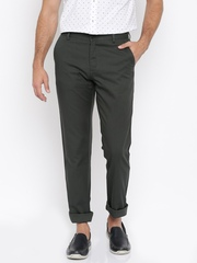 Allen Solly Men Black Solid Flat-Front Trousers