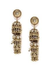 Tipsyfly Gold-Toned Stone-Studded Jhumka Earrings