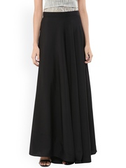 Abhishti Black Crepe Flared Maxi Skirt