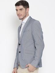 V Dot Blue Self-Striped Single-Breasted Skinny Formal Blazer