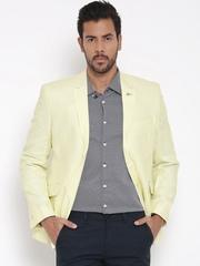 Van Heusen Yellow Linen Single-Breasted Slim Smart Casual Blazer