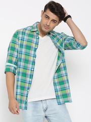 Tommy Hilfiger Men Turquoise Blue Slim Fit Checked Casual Shirt