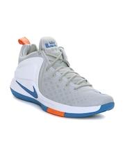 Nike Men Grey & White ZOOM Witness LeBron James Mid-Top Basketball Shoes
