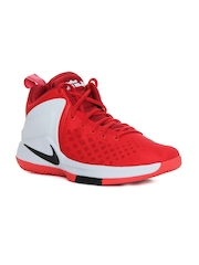 Nike Men Red & White ZOOM Witness LeBron James Mid-Top Basketball Shoes