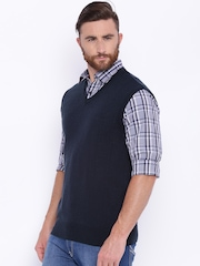 ColorPlus Men Navy Solid Sweater