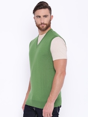 ColorPlus Men Green Solid Sweater
