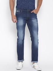 John Players Men Blue Slim Low-Rise Clean Look Jeans