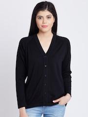 Monte Carlo Women Black Solid Woollen Cardigan