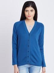 Monte Carlo Women Blue Solid Woollen Cardigan