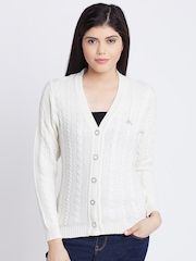 Monte Carlo Women Off-White Patterned Cardigan