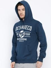DC Blue Printed Hooded Sweatshirt