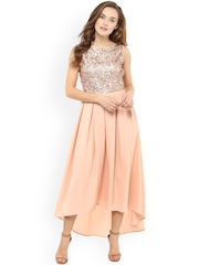 Femella Women Peach-Coloured Solid A-line Dress