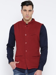 Wills Lifestyle Red Slim Fit Nehru Jacket