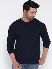 Wills Lifestyle Men Navy Woollen Patterned Sweater