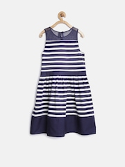 United Colors of Benetton Girls Navy Striped Fit & Flare Dress