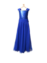 pspeaches Girls Blue Sequinned Maxi Dress