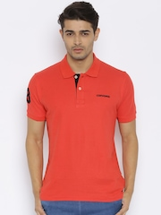 Converse Men Red Solid Polo T-shirt