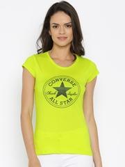 Converse Women Fluorescent Green Printed Round Neck T-shirt