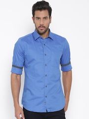 Raymond Men Blue Solid Contemporary Fit Casual Shirt