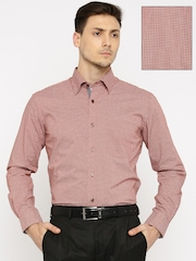 Raymond Men Rust Brown Regular Fit Printed Formal Shirt