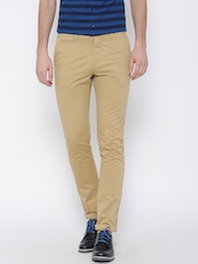 U.S. Polo Assn. Men Khaki Solid Slim Fit Chinos