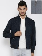 Tommy Hilfiger Navy & Grey Melange Printed Reversible Jacket