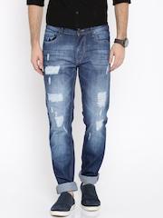 Moda Rapido Men Blue Slim Fit Mid Rise High Distress Jeans