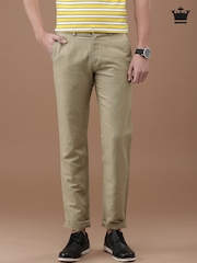 Louis Philippe Men Beige Solid Slim Fit Flat-Front Trousers