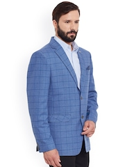 Canary London Blue Checked Woollen Single-Breasted Casual Blazer