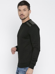 ALCOTT Men Black Solid Pullover Sweatshirt