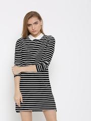 FOREVER 21 Women Black Striped Jersey Dress
