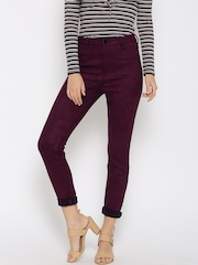 FOREVER 21 Women Wine-Coloured Solid Flat-Front Trousers