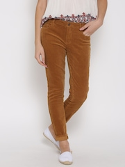 FOREVER 21 Women Mustard Brown Solid Corduroy Flat-Front Trousers
