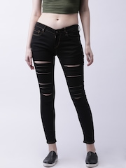Moda Rapido Women Black Skinny Fit Mid Rise Highly Distressed Jeans