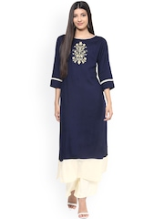 Jaipur Kurti Navy & Off-White Kurta with Palazzo Trousers