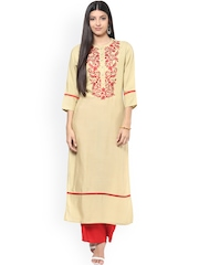 Jaipur Kurti Beige & Red Embroidered Kurta with Palazzo Trousers