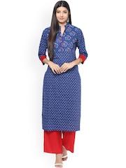 Jaipur Kurti Blue & Red Printed Kurta with Palazzo Trousers