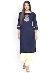 Jaipur Kurti Women Navy Blue Embroidered Straight Kurta