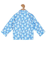 Cherry Crumble Girls Blue Printed Night Suit