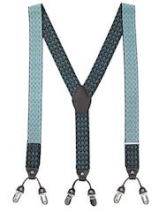 The Tie Hub Men Black & Blue Patterned Suspenders