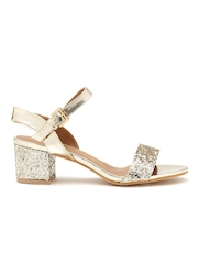 Carlton London Women Gold-Toned Shimmer Block Heels